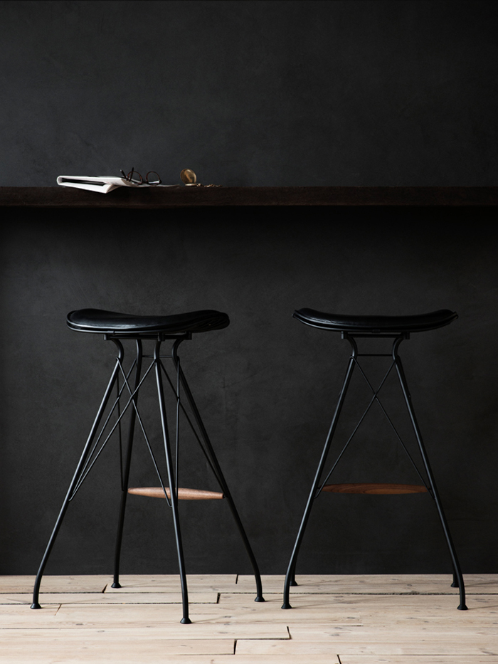 OvergaardAndDyrman_Wire_Bar_Stool_High_Elegance_Black_Leather_Walnut_Footrest_Mat_Black_Powdercoated_Steel2